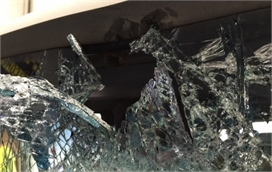 Completely Smashed Truck Windscreen